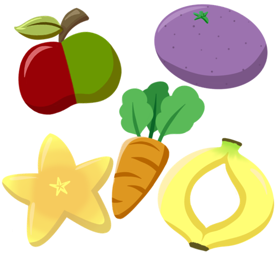 Concept art of the crops that can be grown, including an apple with red and green halves, a purple coloured orang, a carrot, a fruit in the shape of the star and a banana fused at the top and bottom, forming a sort of ring.