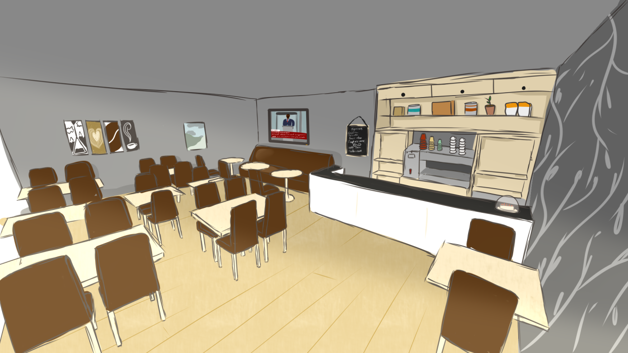 A concept sketch showing the inside of a cafe.