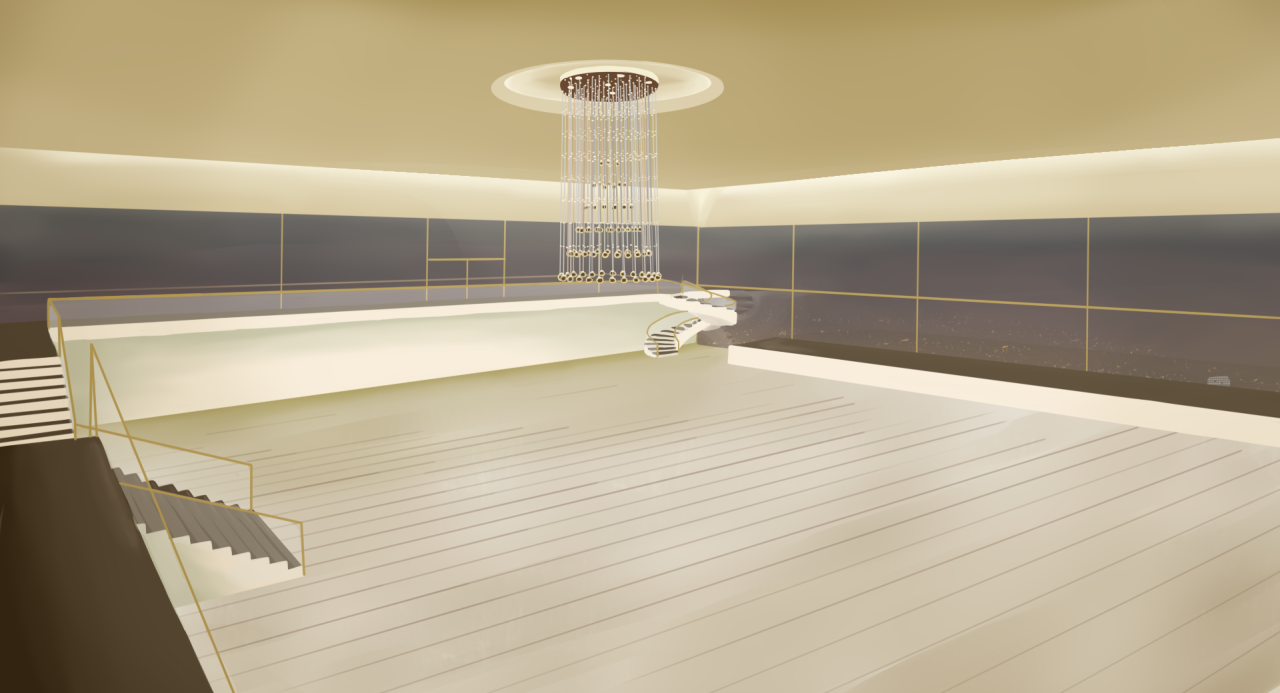 A concept sketch showing a large fanciful hall, bordered by floor to ceiling windows and with a large chandelier in the centre.