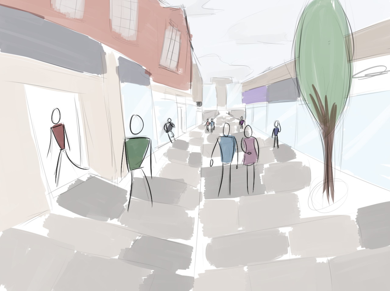 A concept sketch of a road down Manchester.