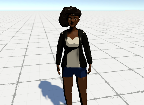 An ingame screenshot of Agi, the protagonist of the game, showing her very early model.