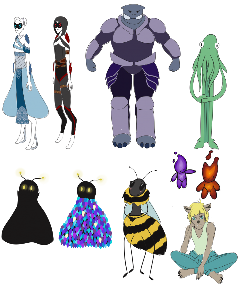 A collection of alien designs, including a large tusked bipedal creature, a happy squid and an alien that looks suspiciously like a bee.