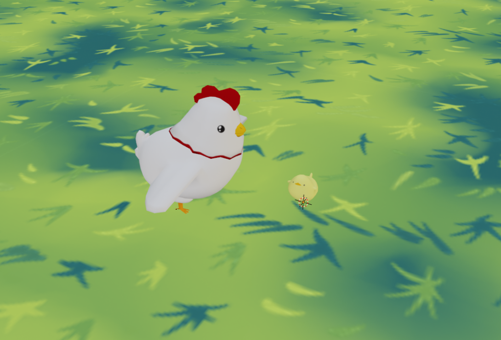 A small yellow chick and a larger mother chicken on some grass.