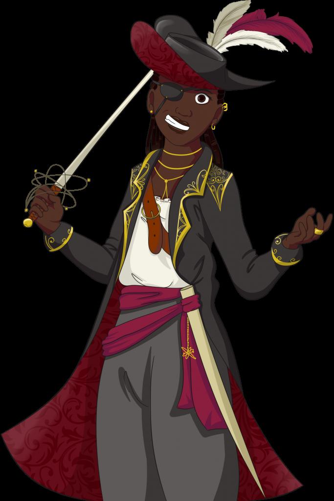 Captain Elvina, a dangerous space pirate.