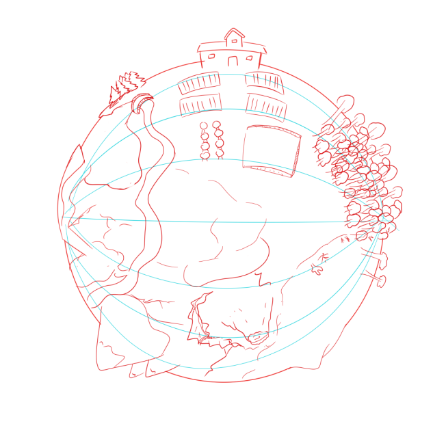 An early sketch of the player's home plorb with a variety of biomes visible.