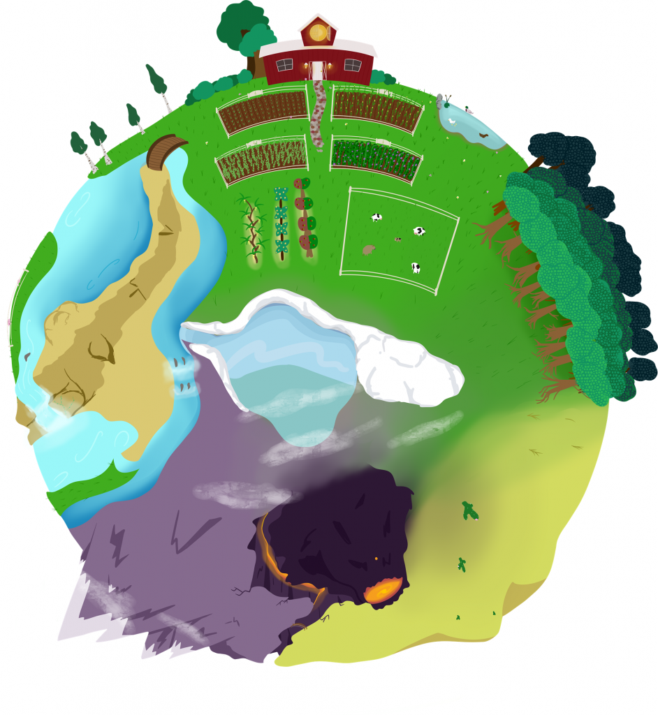 A coloured concept showing the player's home plorb with a variety of biomes visible. The home barn can be found at the top of the planet.