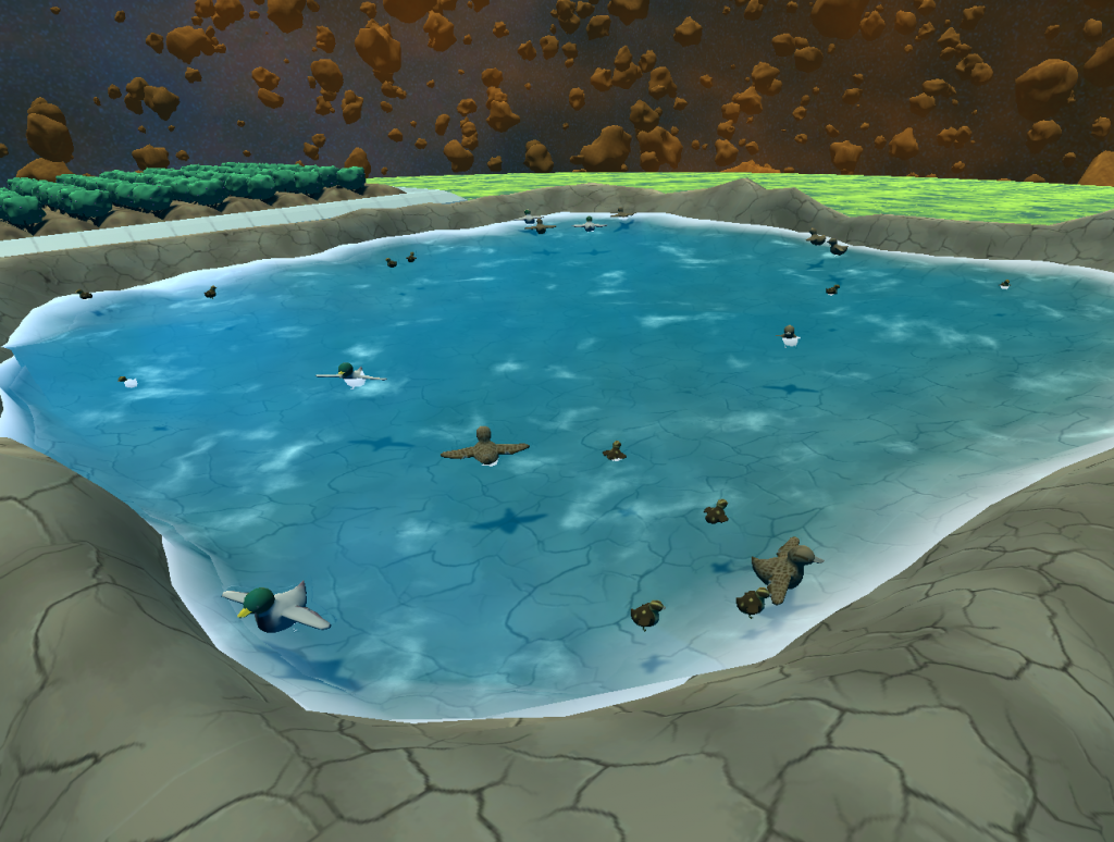 A collection of ducks floating within a pond.